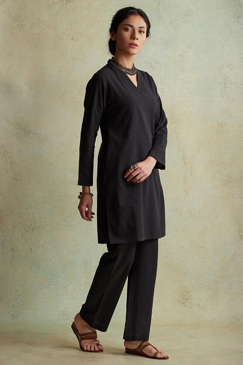 Roza Nihad Black Handloom Short Kurta - Image View 2