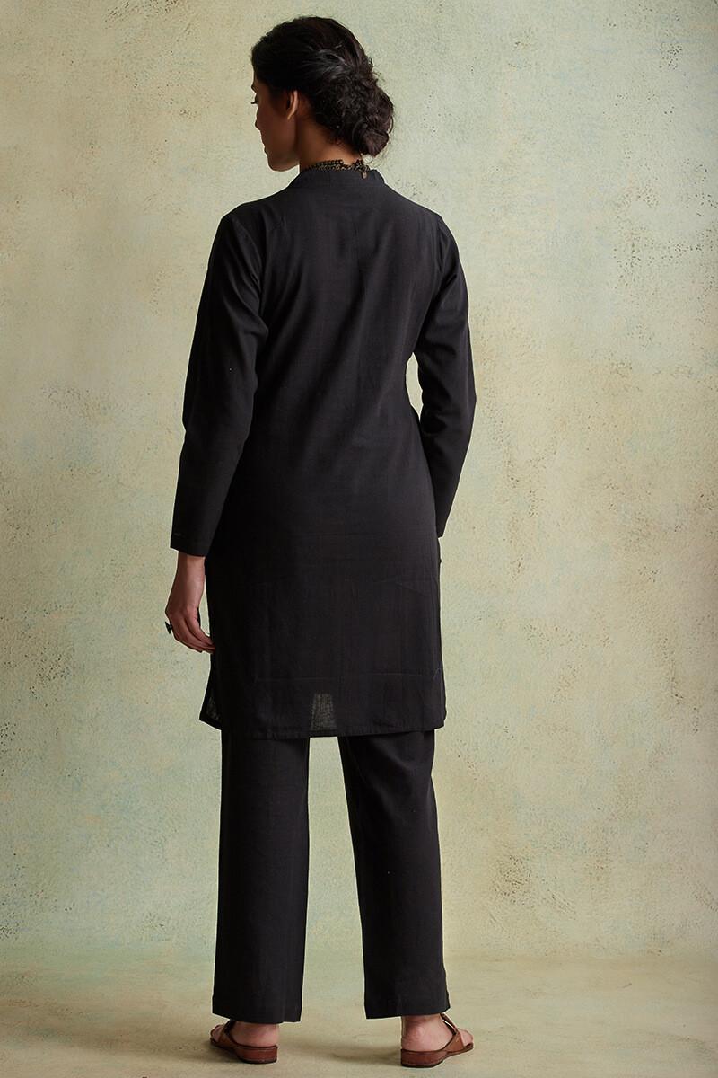 Roza Nihad Black Handloom Short Kurta - Image View 3