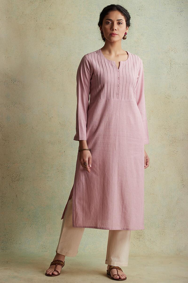 Roza Nihad Pink Handloom Kurta - Image View 1
