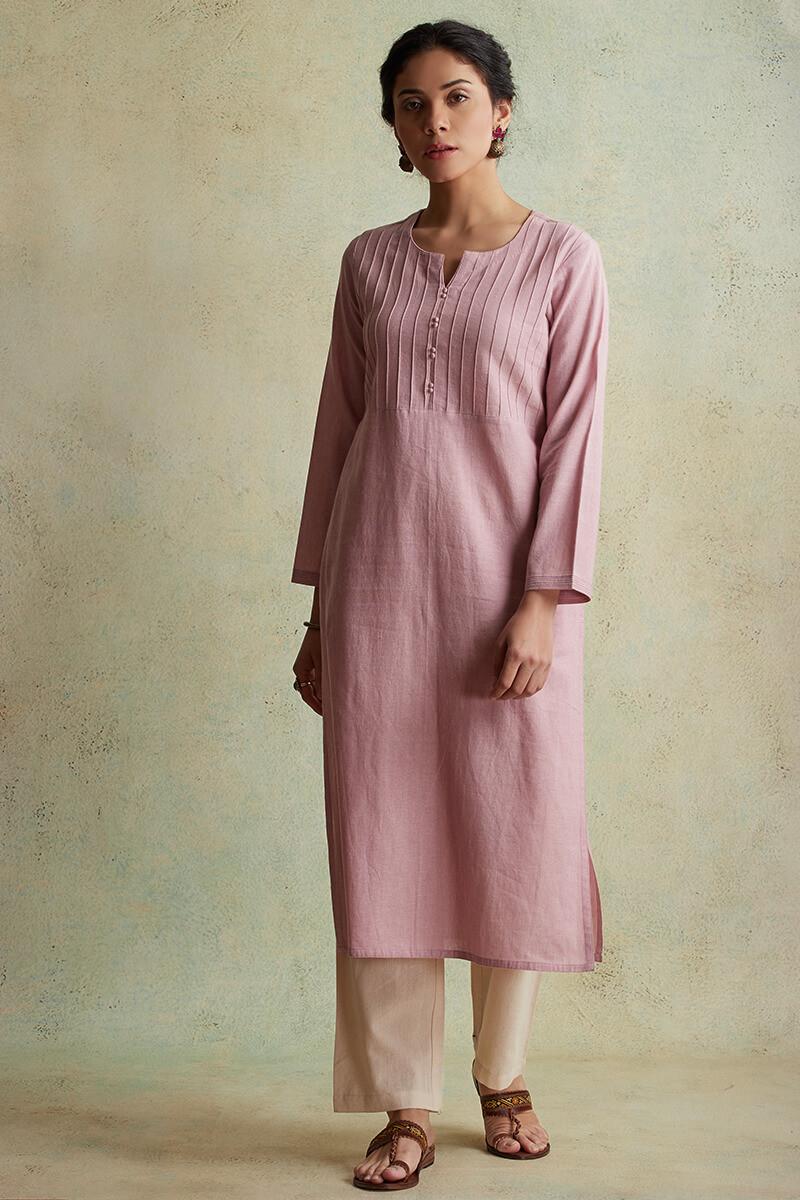 Roza Nihad Pink Handloom Kurta - Image View 2