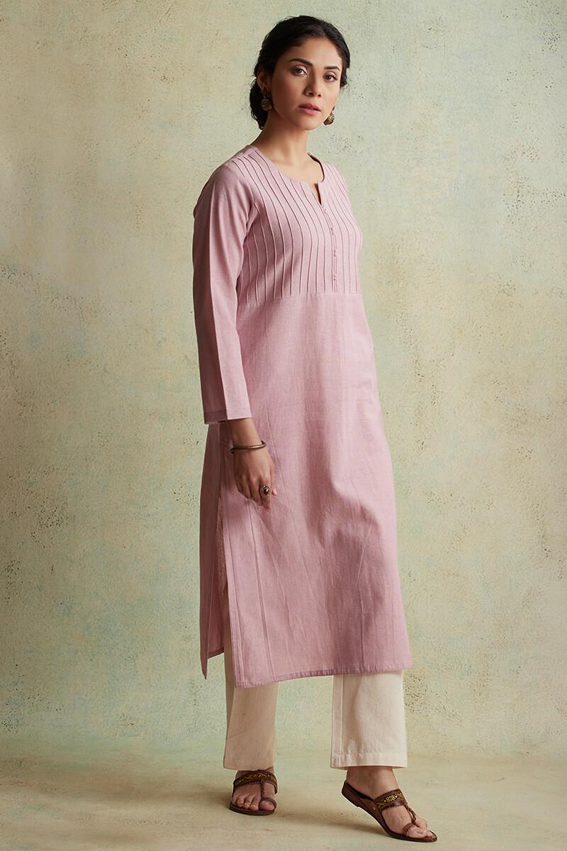 Roza Nihad Pink Handloom Kurta - Image View 3