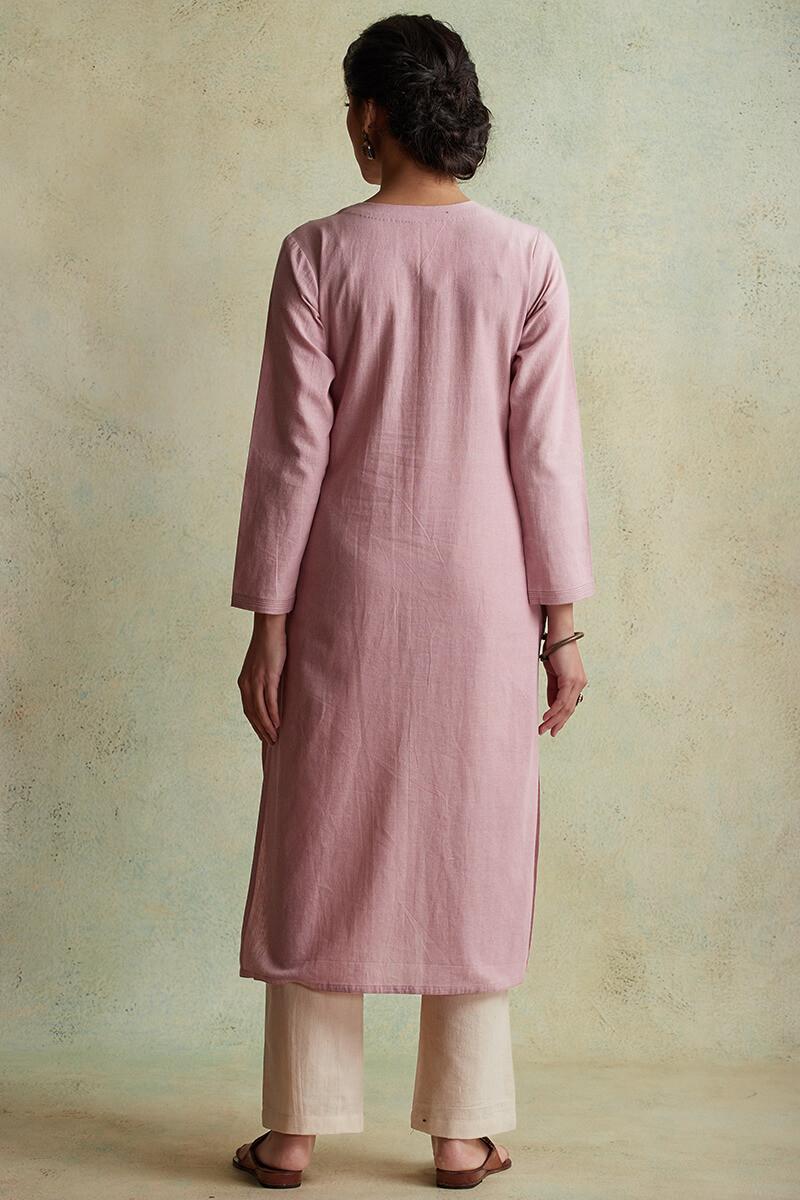 Roza Nihad Pink Handloom Kurta - Image View 4