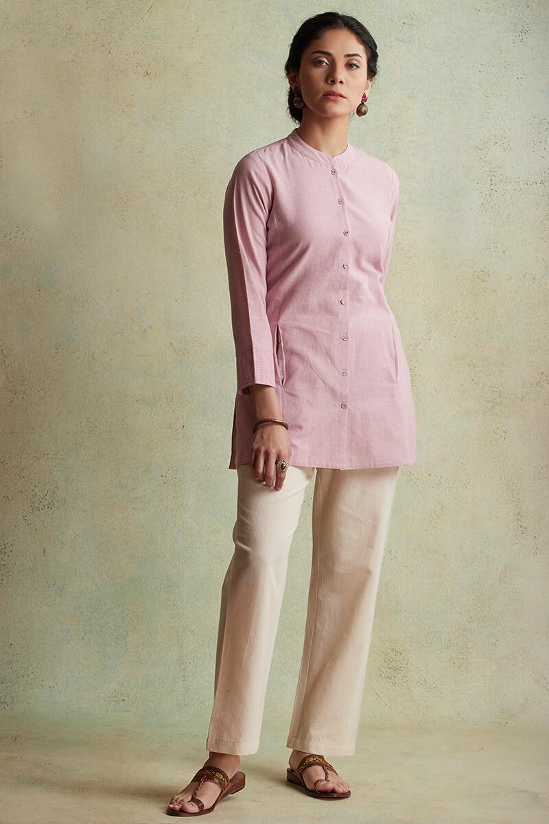 Roza Nihad Pink Handloom Kurti - Image View 1
