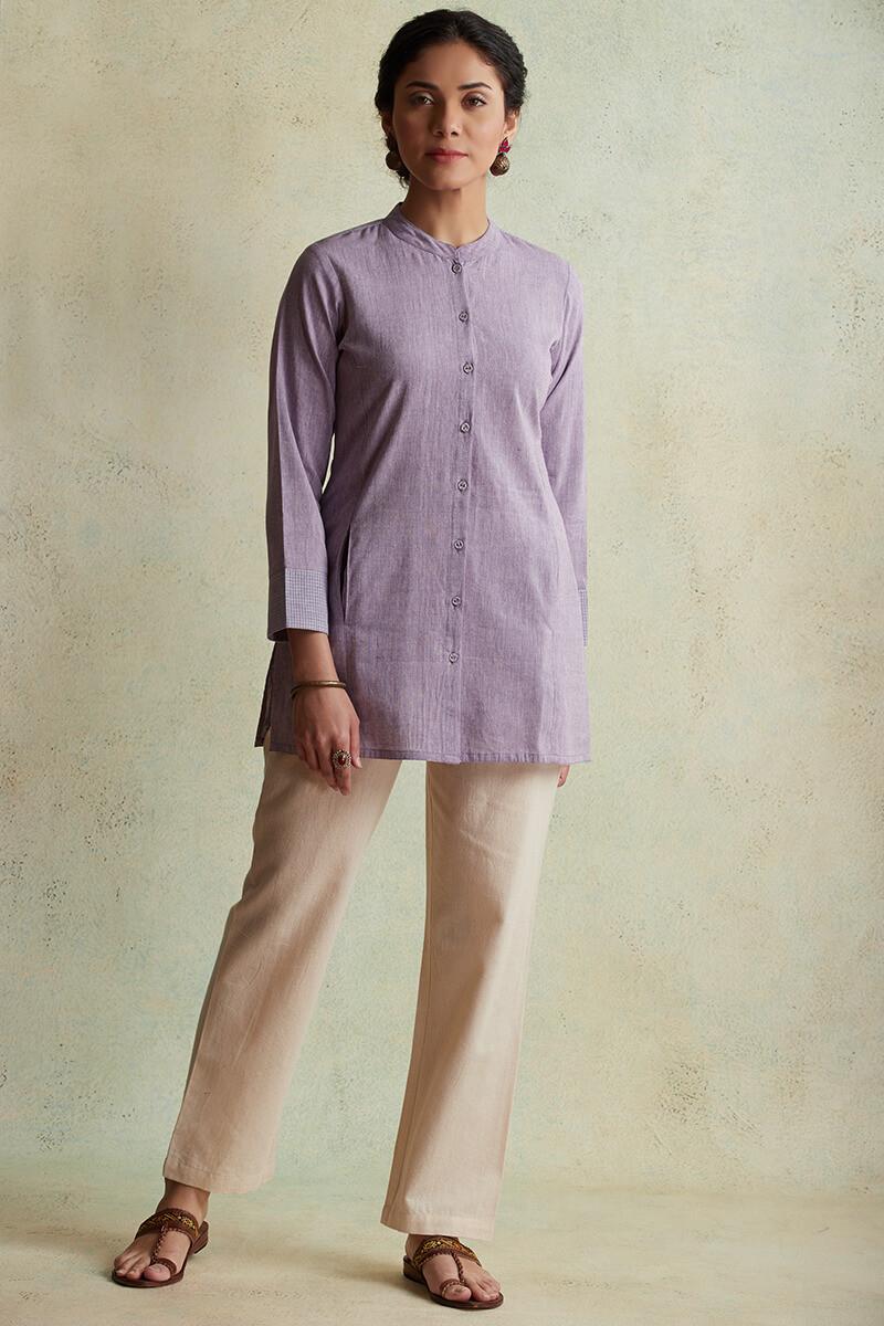 Roza Nihad Lavender Handloom Kurti - Image View 1