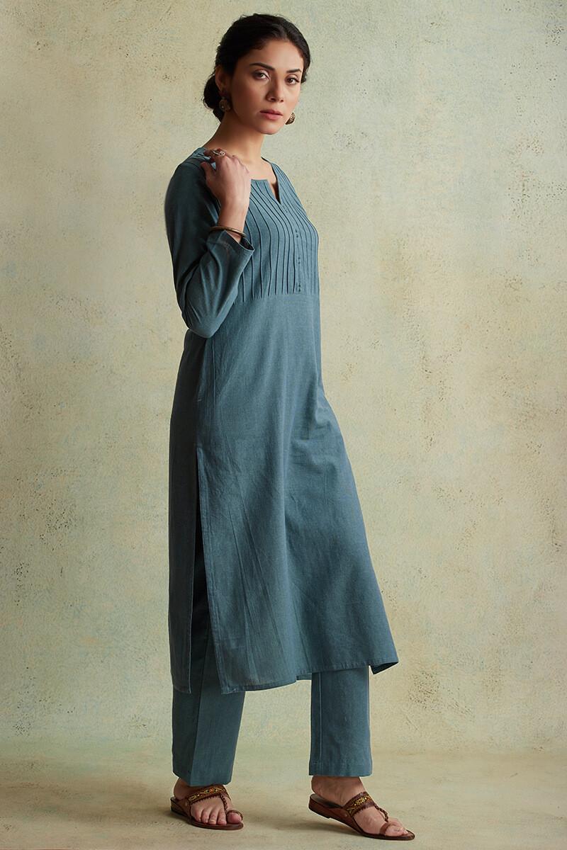 Roza Nihad Slate Blue Handloom Kurta - Image View 2
