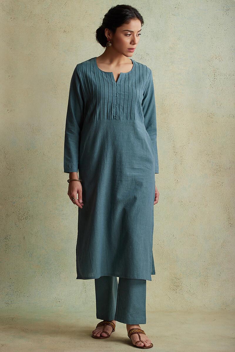 Roza Nihad Slate Blue Handloom Kurta - Image View 1