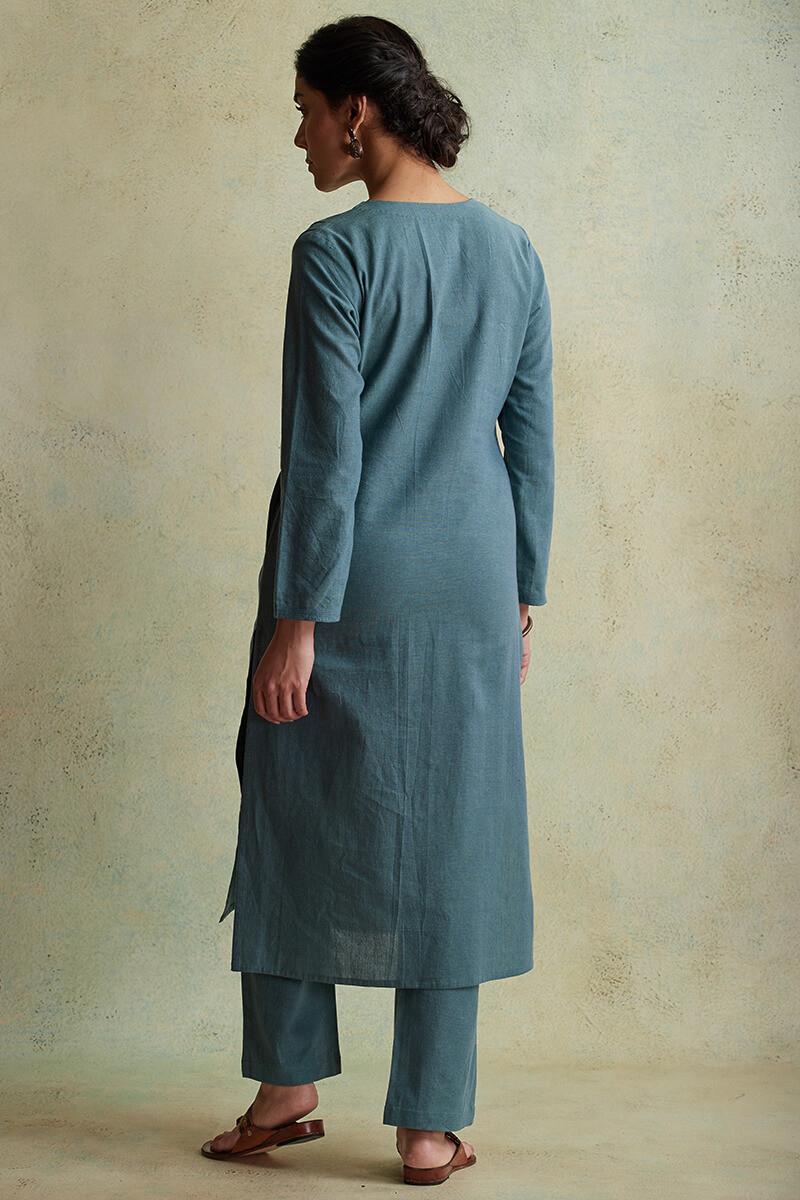 Roza Nihad Slate Blue Handloom Kurta - Image View 4