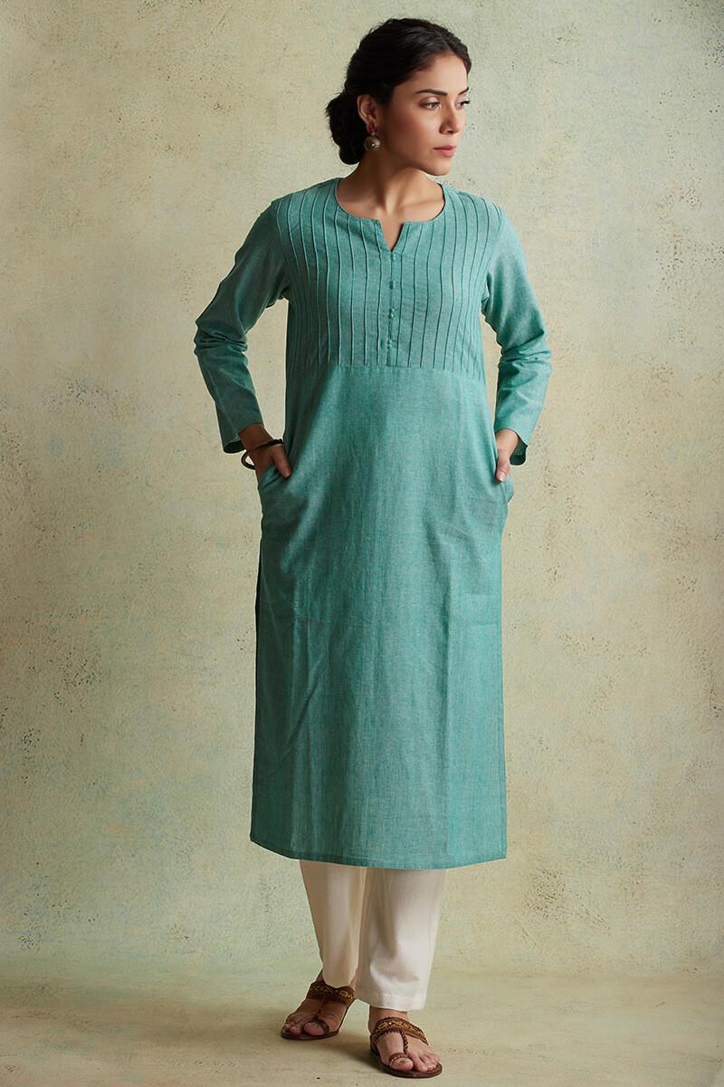 Roza Nihad Turquoise Handloom Kurta - Image View 1