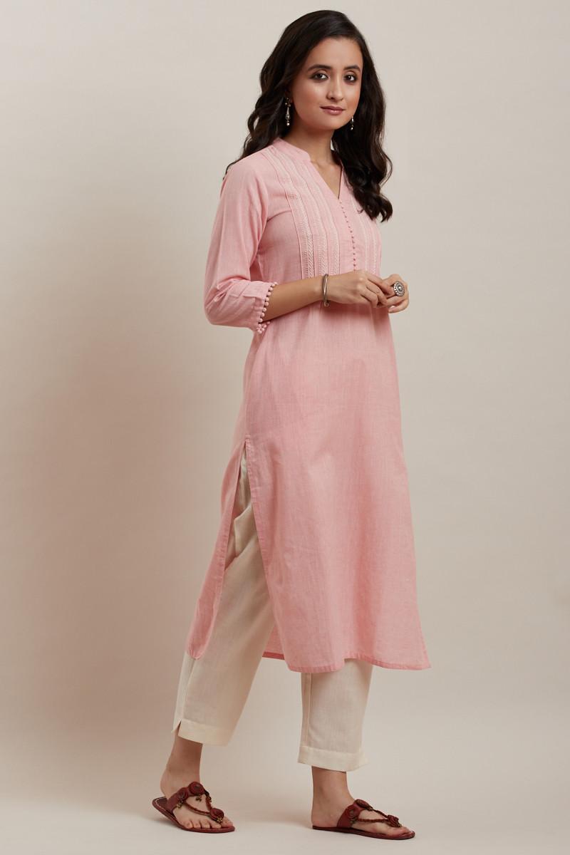 Kashida Light Pink Kurta - Image View 2
