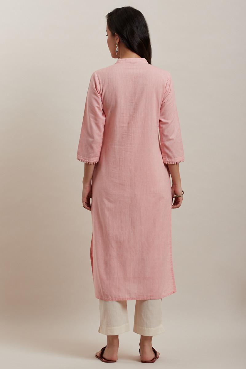 Kashida Light Pink Kurta - Image View 4