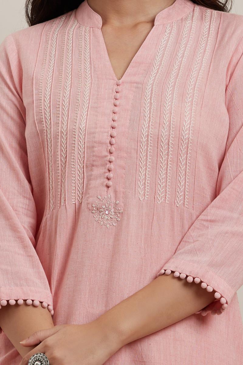 Kashida Light Pink Kurta - Image View 5
