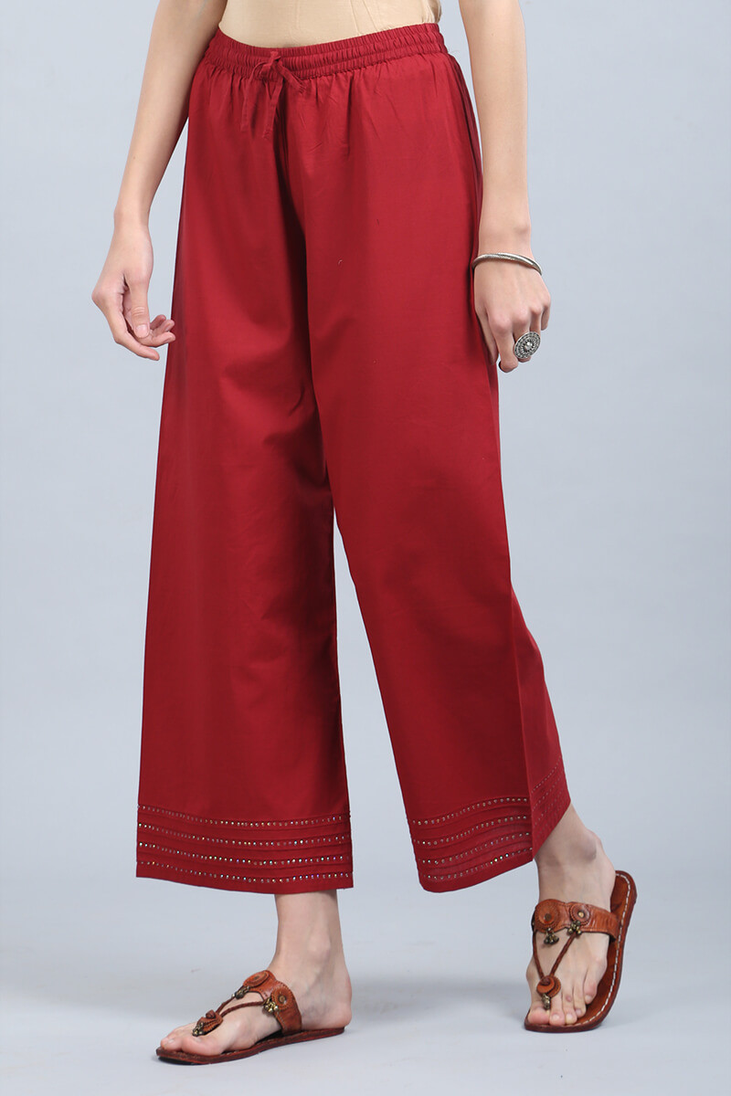 Deep Red Cotton Farsi Pants - Image View 3