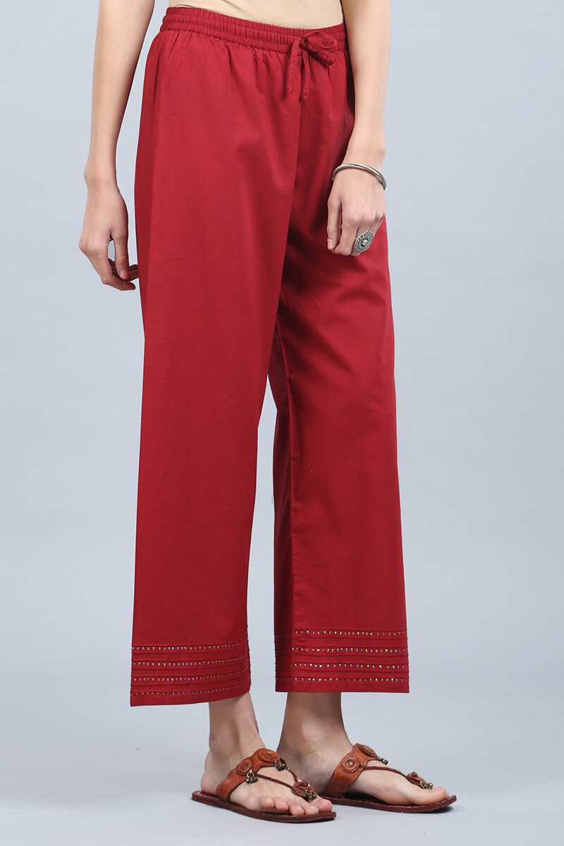 Deep Red Cotton Farsi Pants - Image View 2