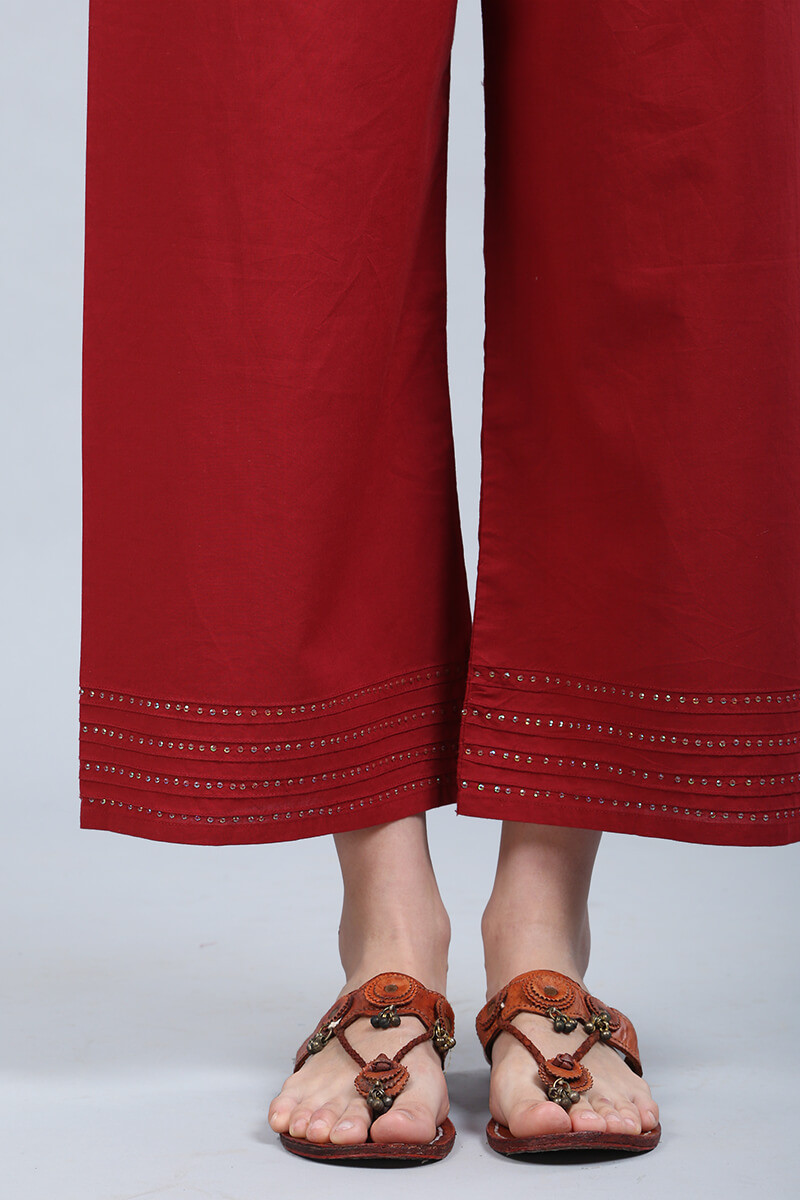Deep Red Cotton Farsi Pants - Image View 4