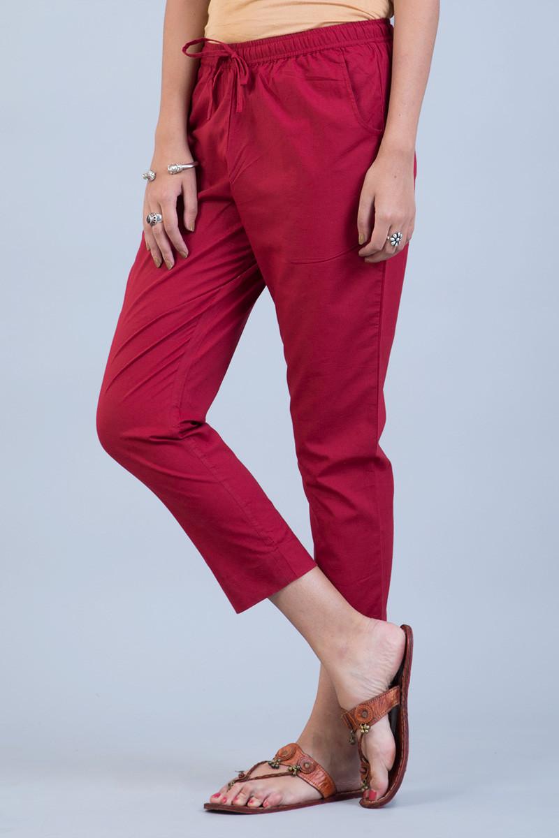 Red Narrow Pants - Image View 3