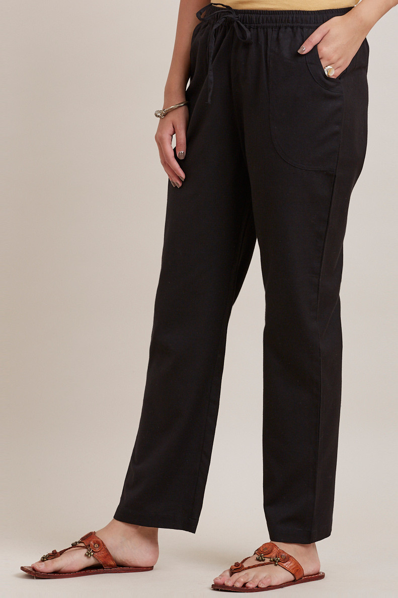 Black Cotton Pants - Image View 3