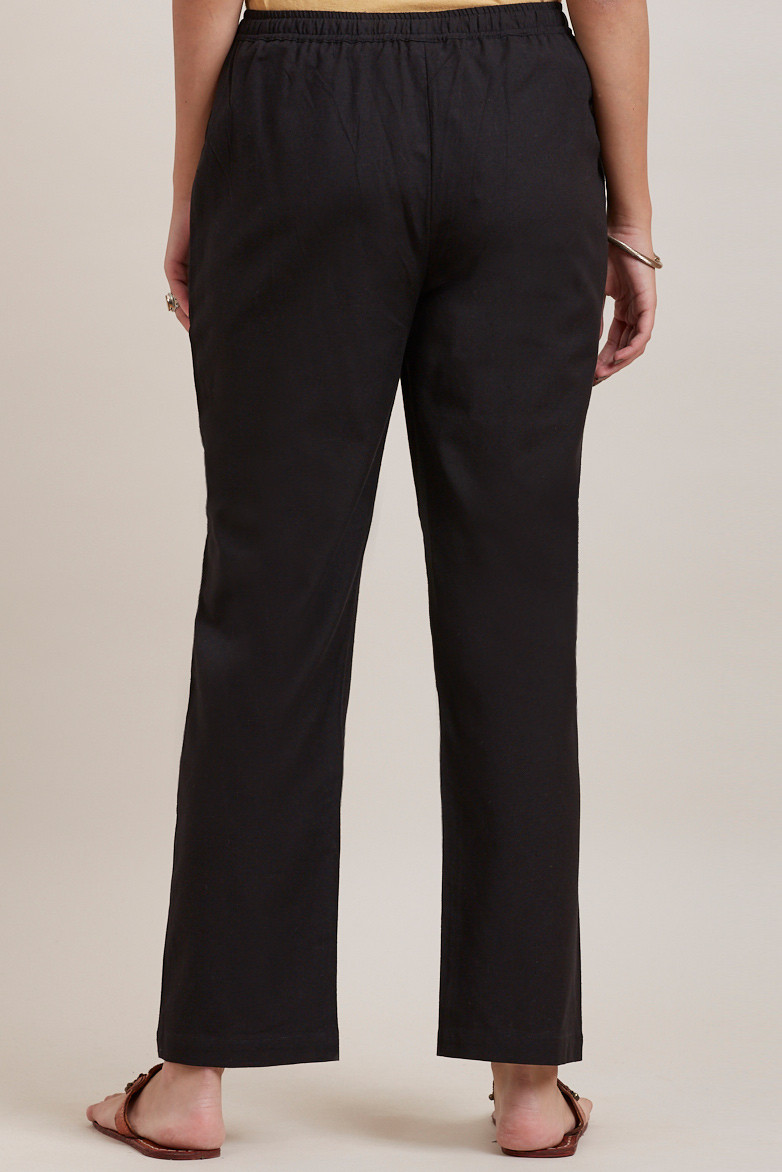 Black Cotton Pants - Image View 4