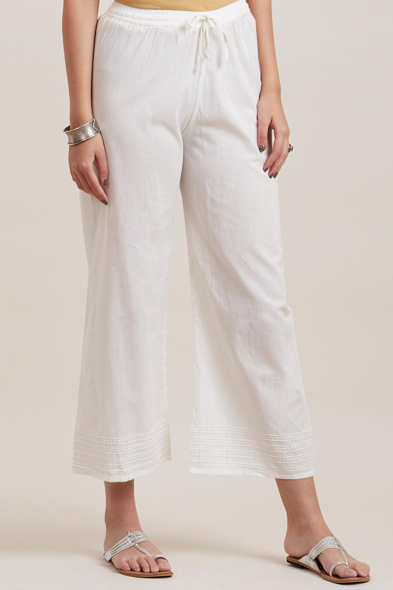Off White Cotton Farsi Pants - Image View 2