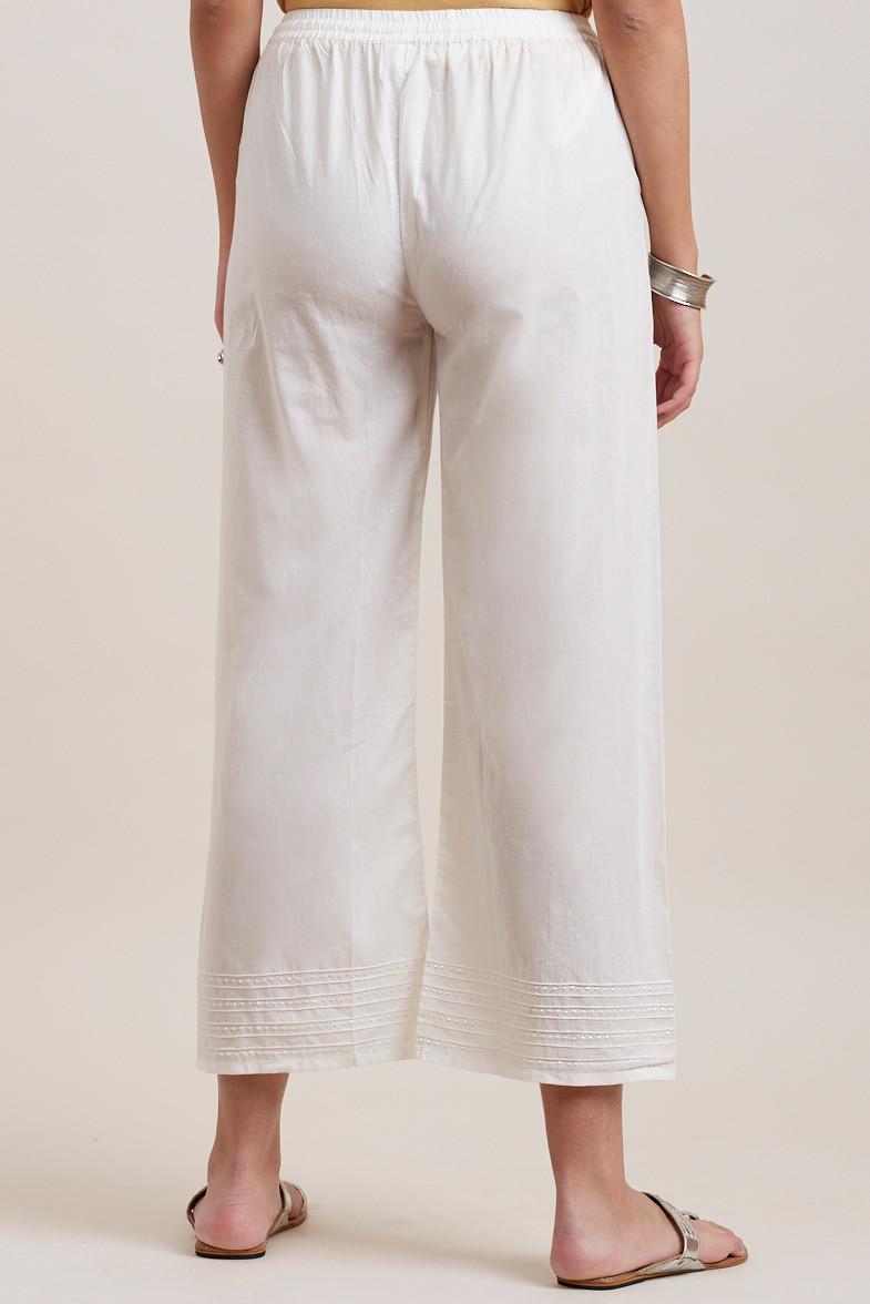 Off White Cotton Farsi Pants - Image View 4