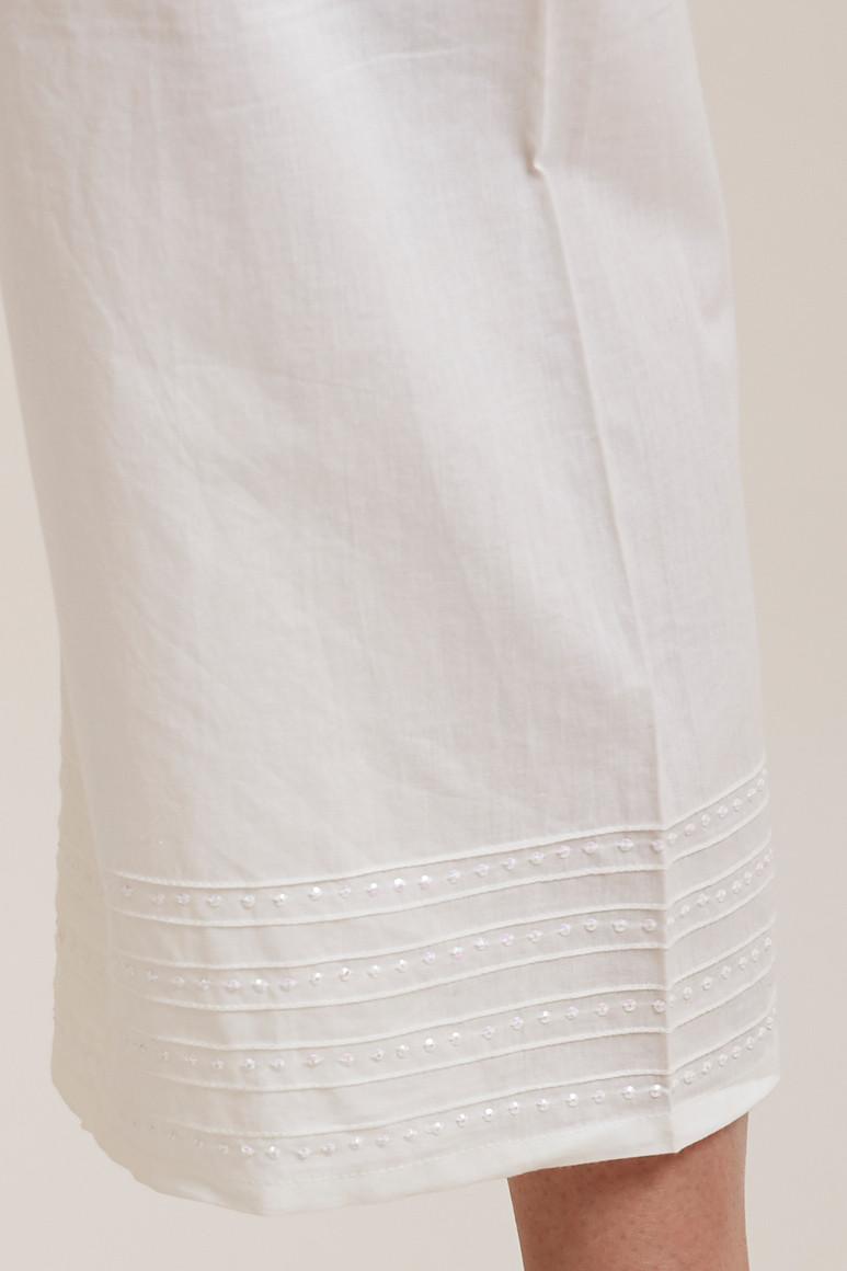 Off White Cotton Farsi Pants - Image View 5