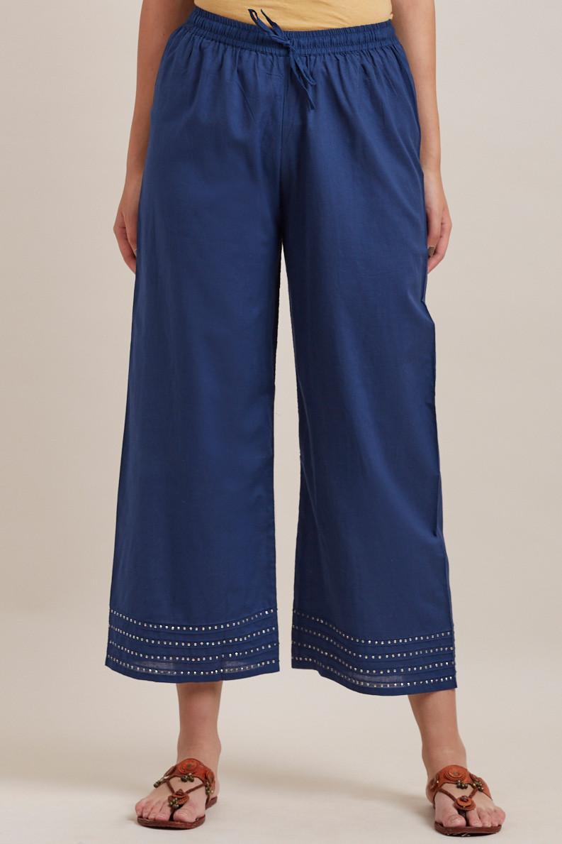Royal Blue Cotton Farsi Pants - Image View 1