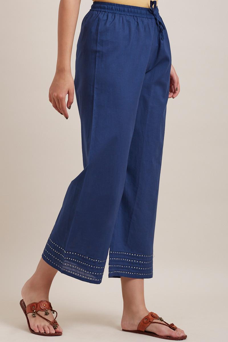 Royal Blue Cotton Farsi Pants - Image View 2