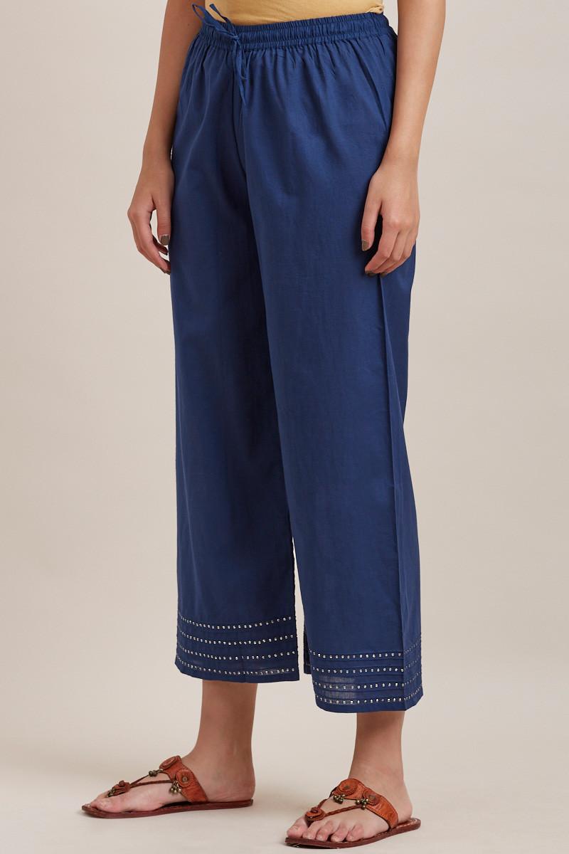 Royal Blue Cotton Farsi Pants - Image View 3