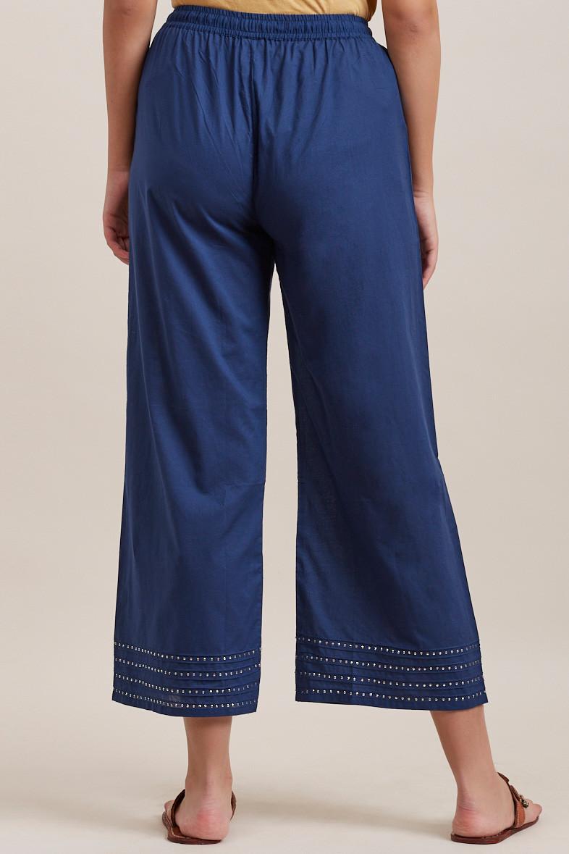 Royal Blue Cotton Farsi Pants - Image View 4