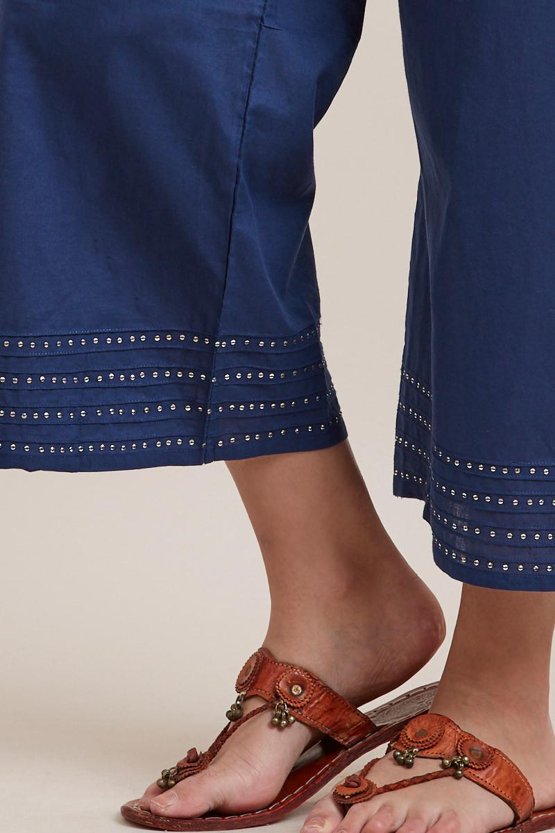 Royal Blue Cotton Farsi Pants - Image View 5