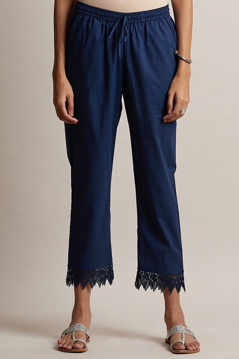 Roza Blue Lace Narrow Pants - Image View 1