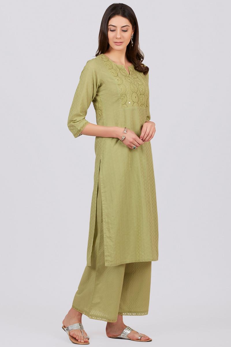 Roza Jahan Green Kurta - Image View 2