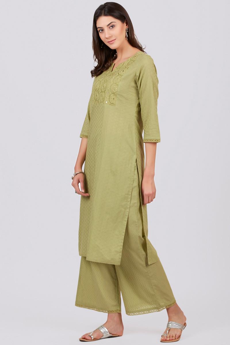 Roza Jahan Green Kurta - Image View 3