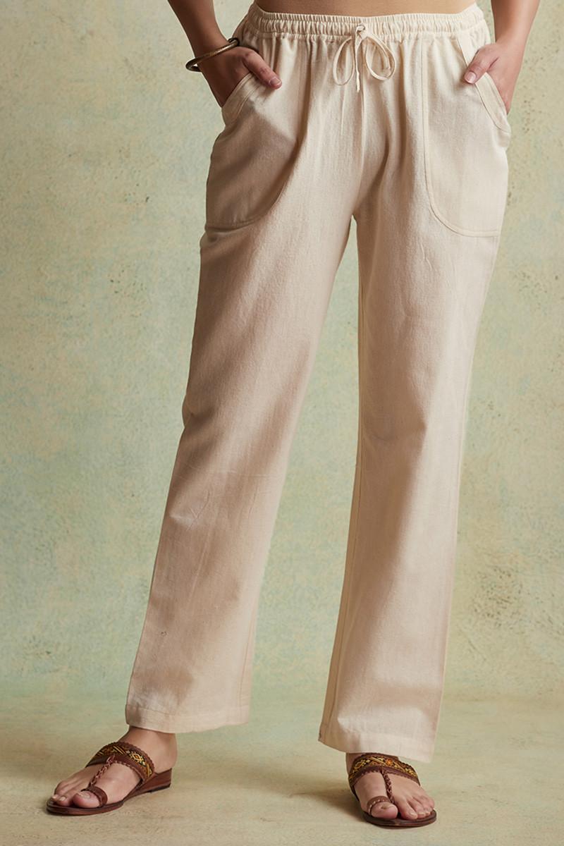 Roza Nihad Beige Handloom Pants - Image View 1