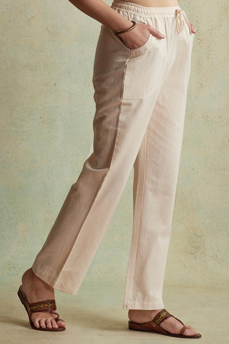Roza Nihad Beige Handloom Pants - Image View 2