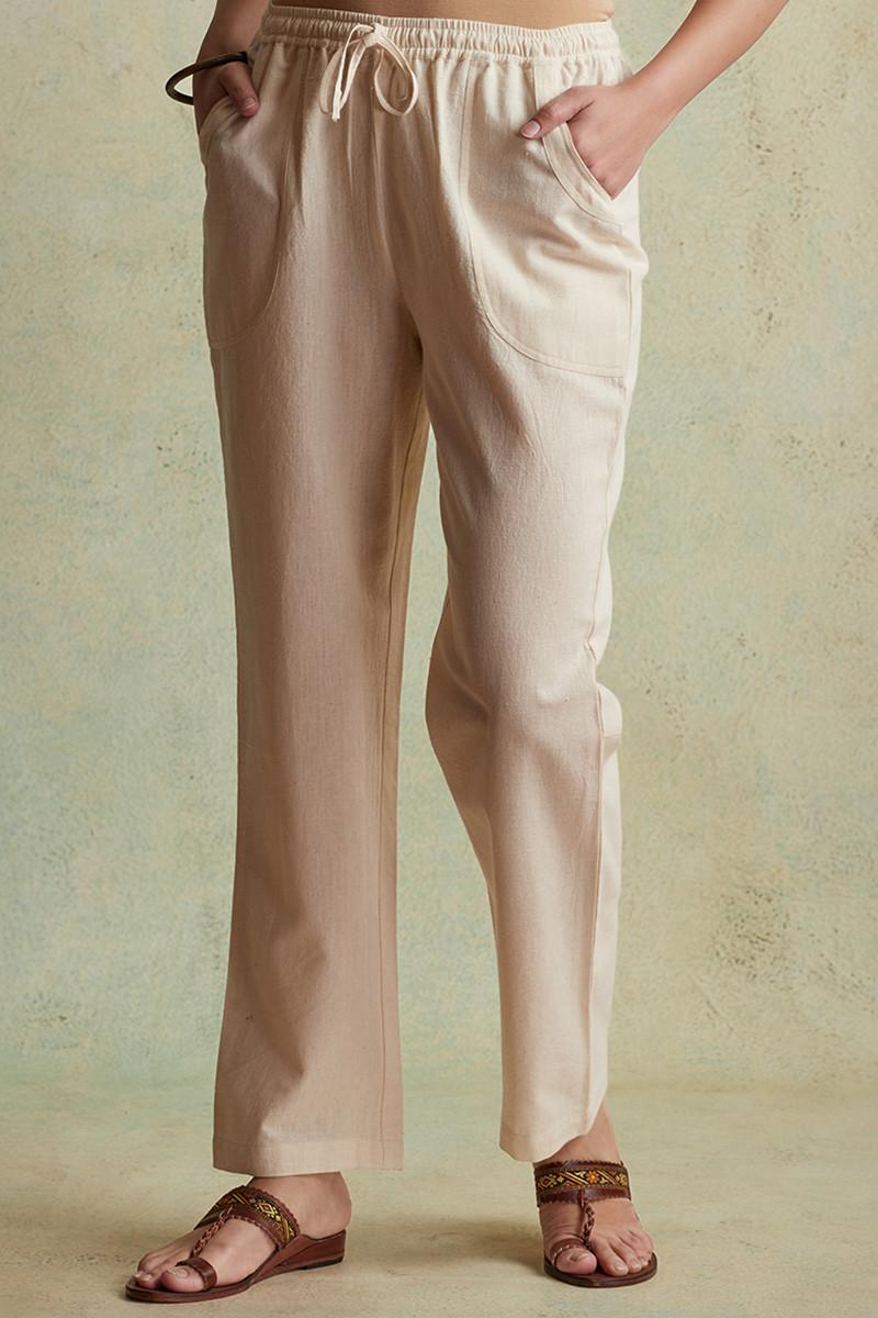 Roza Nihad Beige Handloom Pants - Image View 3