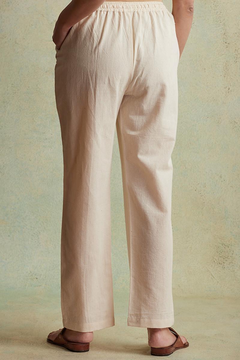 Roza Nihad Beige Handloom Pants - Image View 4