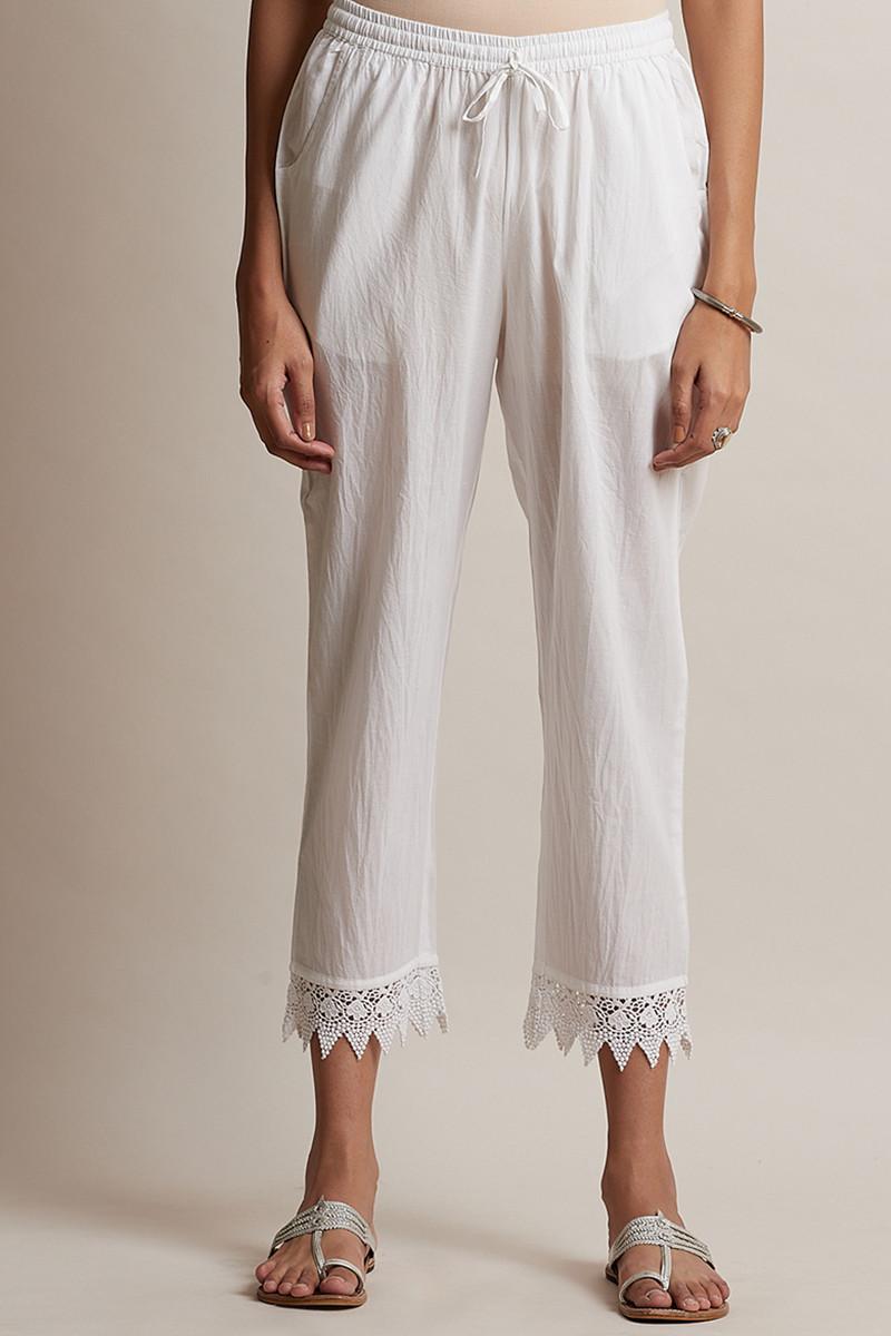 Roza Off-White Lace Narrow Pants - Image View 1