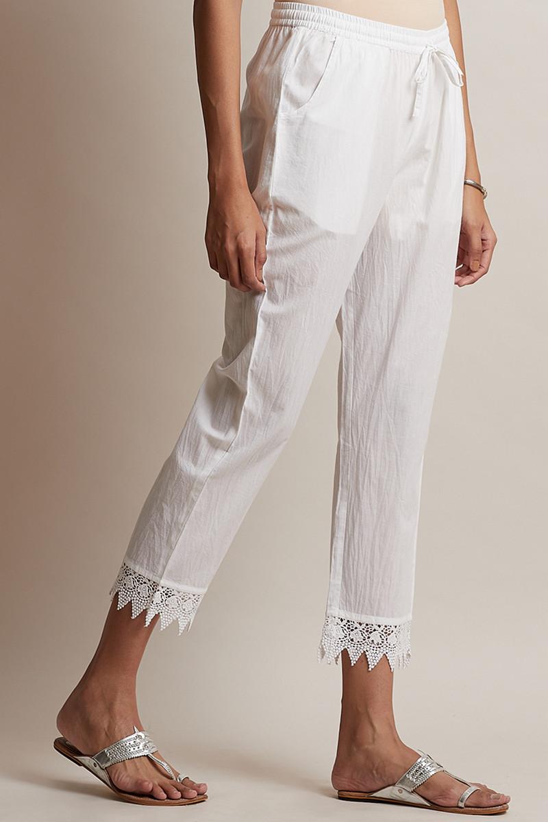Roza Off-White Lace Narrow Pants - Image View 2