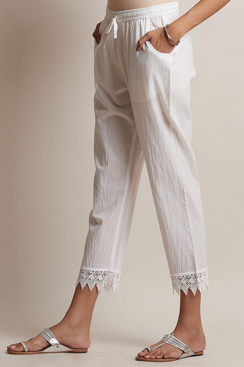 Roza Off-White Lace Narrow Pants - Image View 3