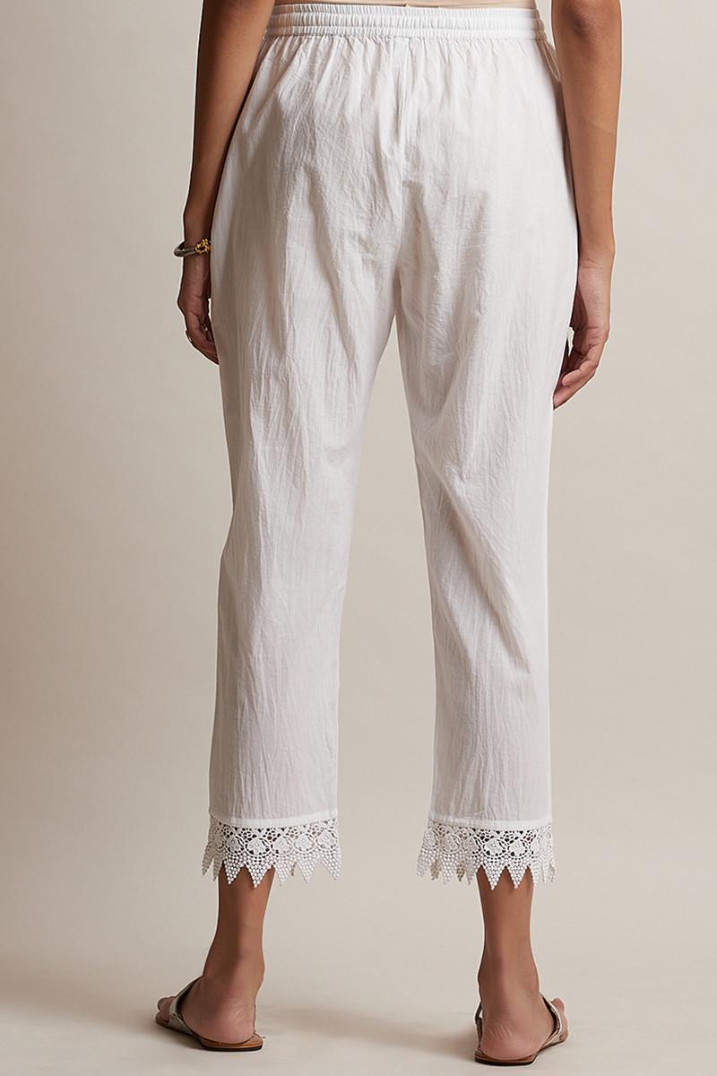 Roza Off-White Lace Narrow Pants - Image View 4