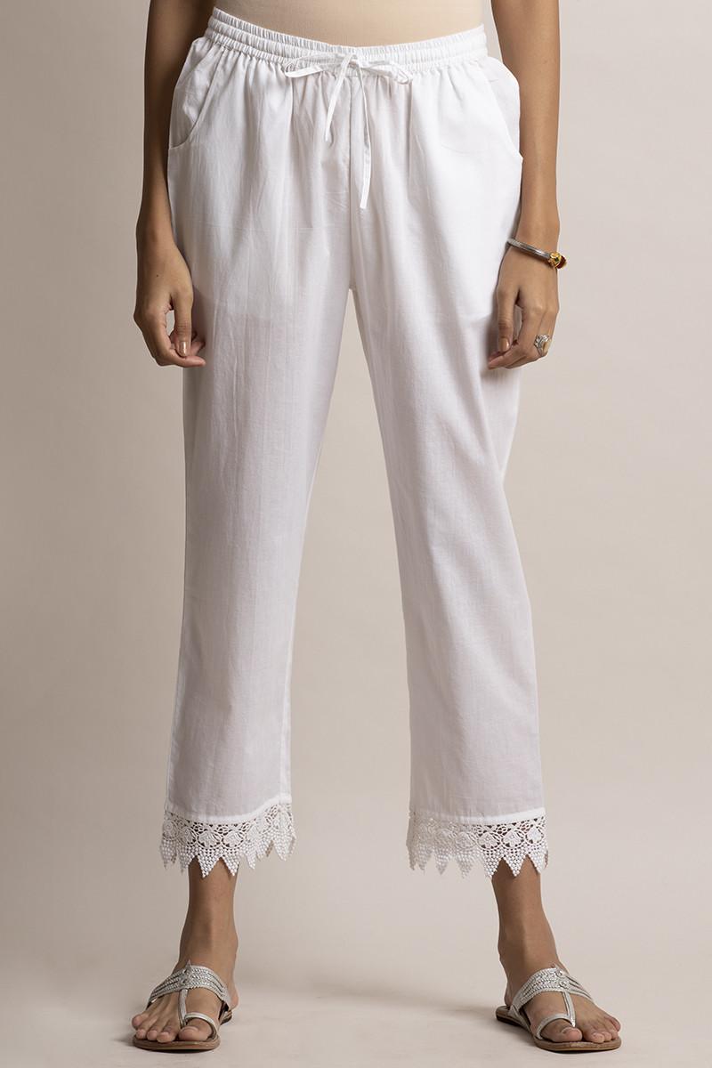 Roza White Lace Narrow Pants - Image View 1
