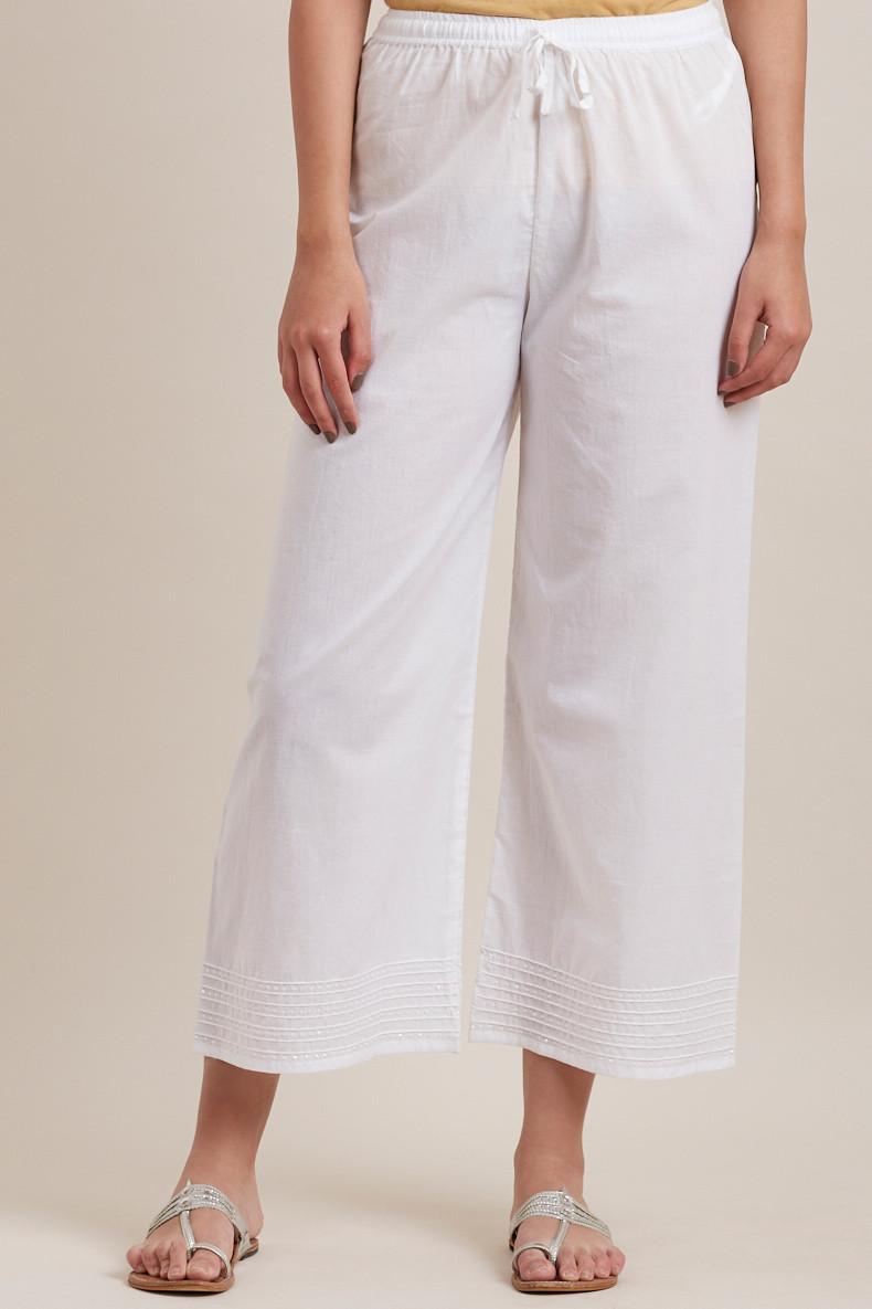 White Cotton Farsi Pants - Image View 1
