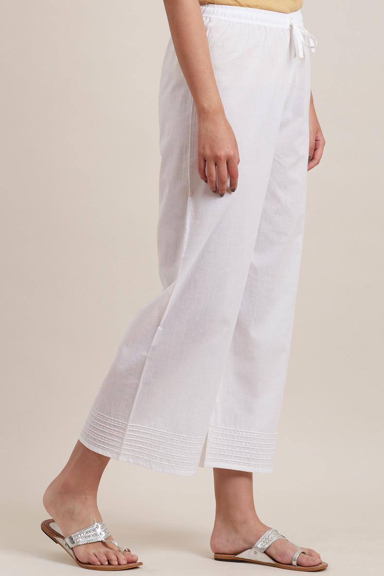 White Cotton Farsi Pants - Image View 2