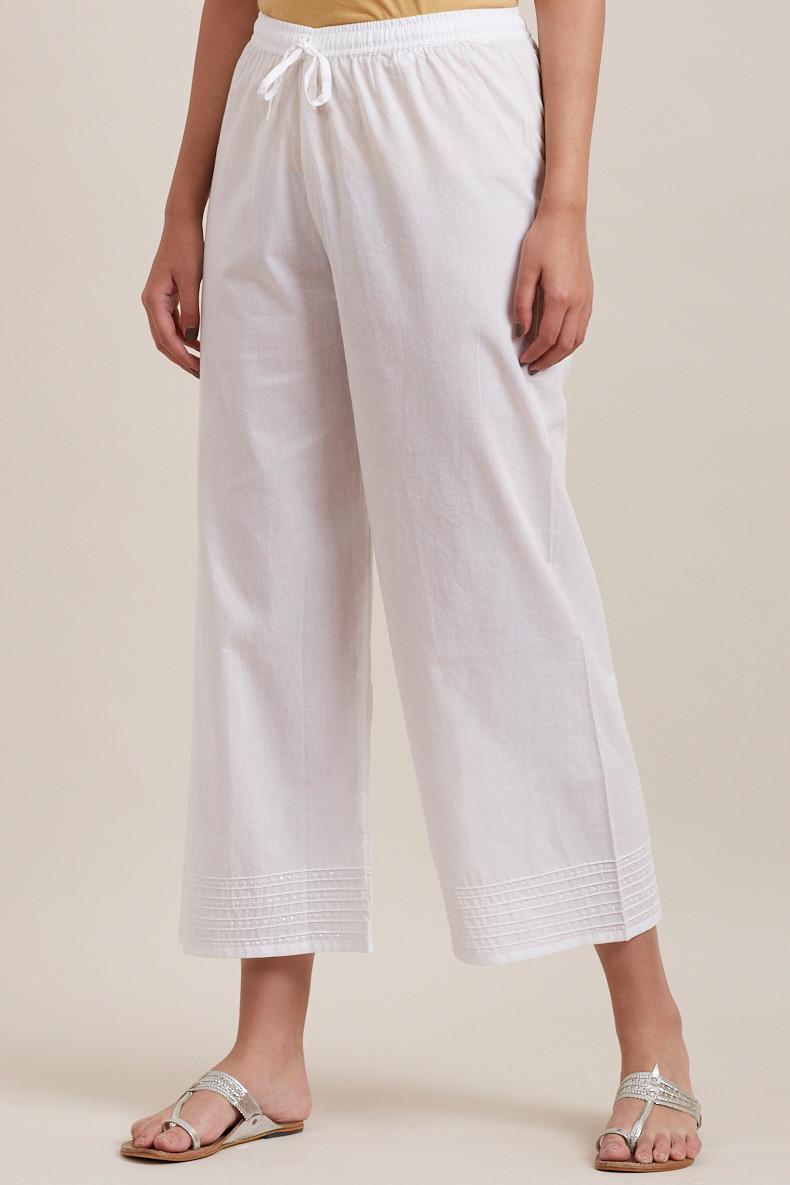 White Cotton Farsi Pants - Image View 3