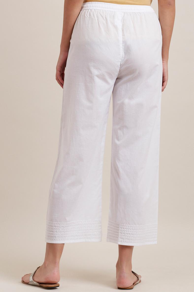 White Cotton Farsi Pants - Image View 4