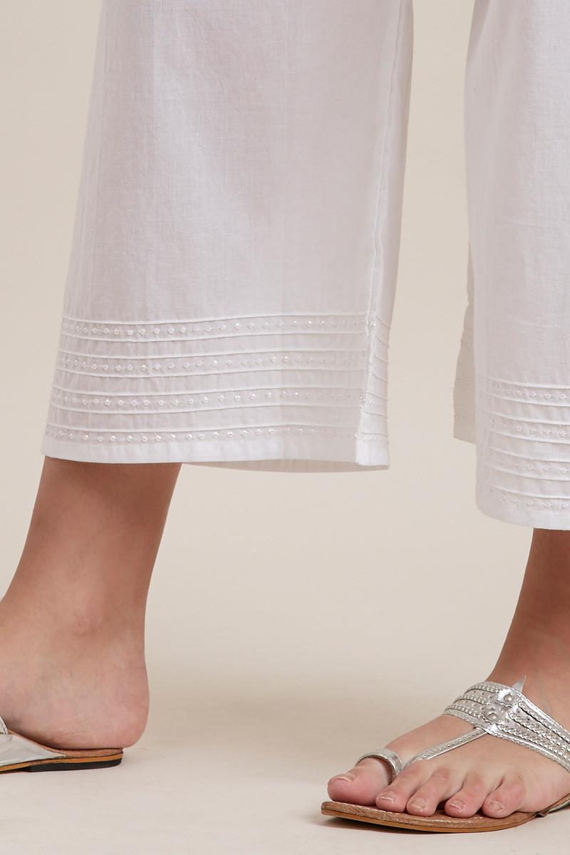 White Cotton Farsi Pants - Image View 5