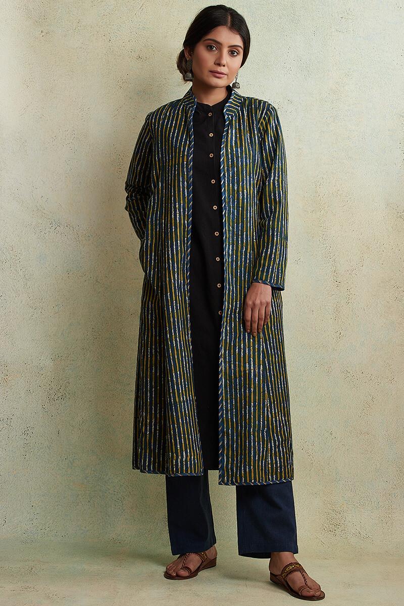 Zahabiya Jiya Reversible Handloom Jacket - Image View 1