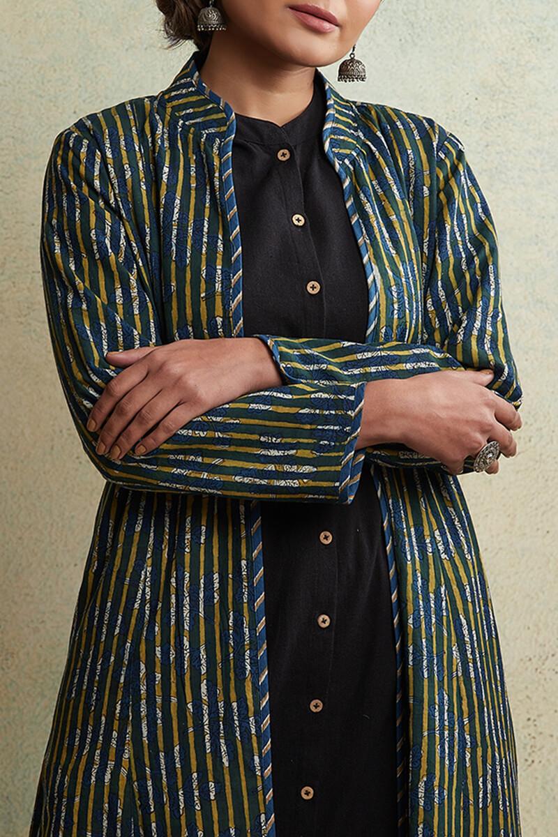 Zahabiya Jiya Reversible Handloom Jacket - Image View 9